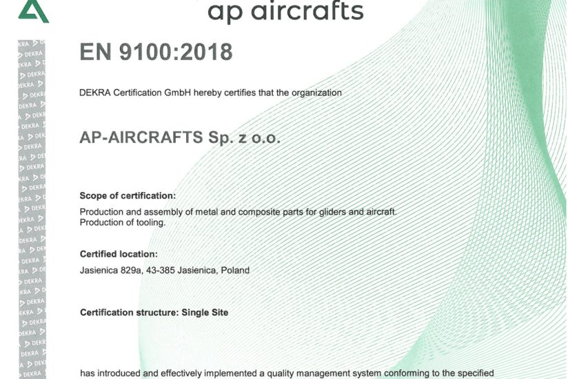 AS 9100 rev. D Certificate
