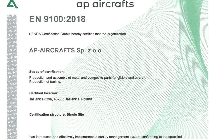 AS 9100 rev. D Certificate